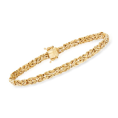 14kt Yellow Gold Small Flat Byzantine Bracelet with Magnetic Clasp, , default