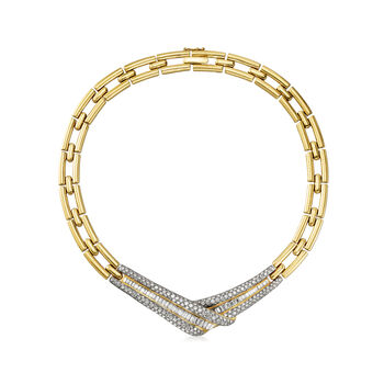 "C. 1990 Vintage 15.00 ct. t.w. Diamond Fancy Link Necklace in 18kt Yellow Gold. 16.5"", , default"
