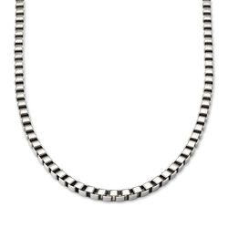 "Men's 6mm Stainless Steel Box-Link Necklace . 24"", , default"