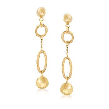 Italian 14kt Yellow Gold Multi-Link Drop Earrings, , default