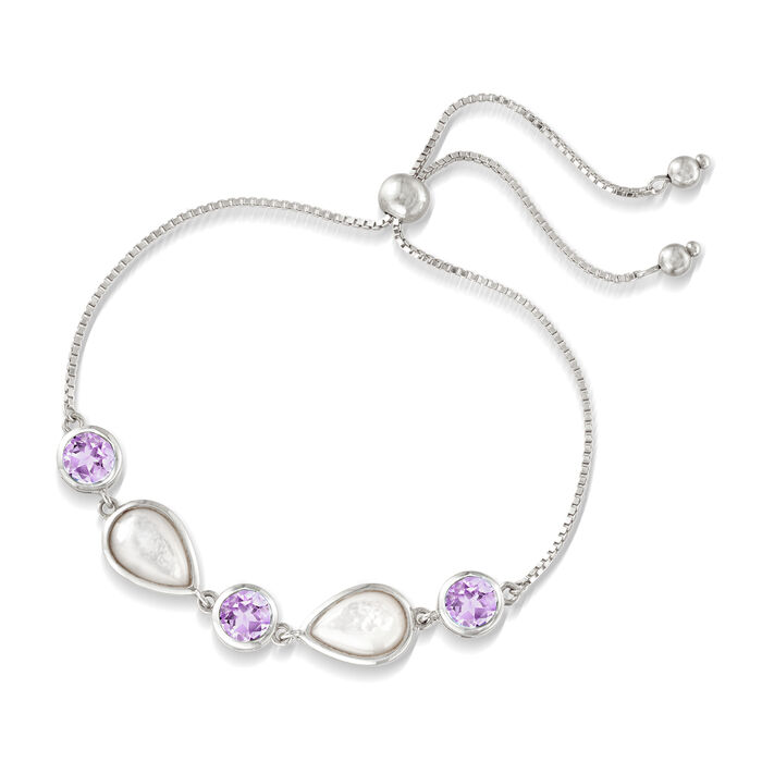 Mother-Of-Pearl and 6.00 ct. t.w. Amethyst Bolo Bracelet in Sterling Silver