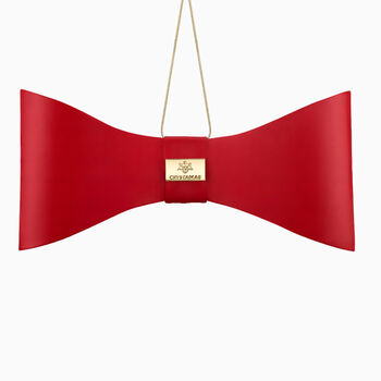 Crystamas Red Lambskin Leather Bow Ornament with White Gold Studs, , default