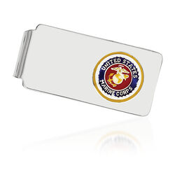 Sterling Silver U.S. Marine Corp Enameled Engravable Money Clip, , default