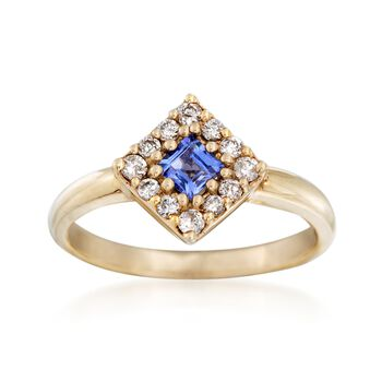 C. 1980 Vintage .25 Carat Tanzanite and .25 ct. t.w. Diamond Ring in 14kt Yellow Gold. Size 7, , default