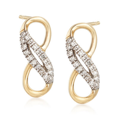 14kt Yellow Gold Infinity Symbol Drop Earrings with Diamond Accents, , default