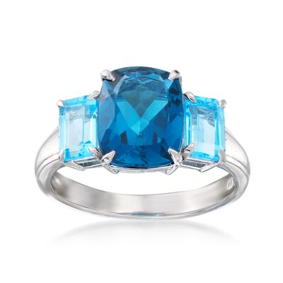3.60 ct. t.w. London and Swiss Blue Topaz Ring in Sterling Silver, , default