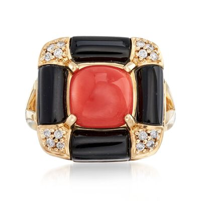 Red Coral and Black Onyx Ring with .14 ct. t.w. Diamonds in 14kt Yellow Gold, , default