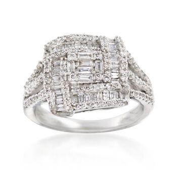 1.00 ct. t.w. Diamond Square Ring in 14kt White Gold, , default
