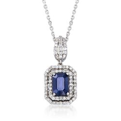 "1.10 Carat Sapphire and .35 ct. t.w. Diamond Pendant Necklace in 14kt White Gold. 16"", , default"