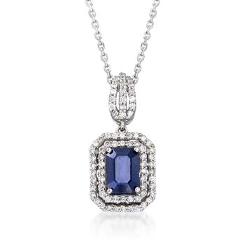 """1.10 Carat Sapphire and .35 ct. t.w. Diamond Pendant Necklace in 14kt White Gold. 16"""", , default"""