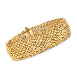 Italian 14kt Yellow Gold Wide Riso Link Bracelet, , default