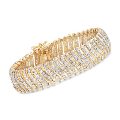 10.00 ct. t.w. Diamond Multi-Row Bracelet in 14kt Yellow Gold, , default