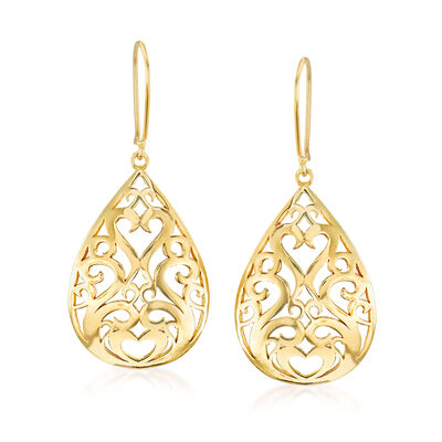 18kt Gold Over Sterling Openwork Teardrop Earrings