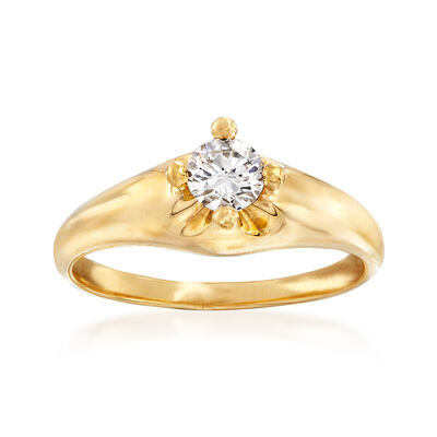 C. 1990 Vintage Bulgari .30 Carat Diamond Engagement Ring in 18kt Yellow Gold