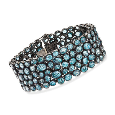 100.00 ct. t.w. Blue Zircon and 1.10 ct. t.w. Brown Diamond Bracelet in Sterling Silver, , default