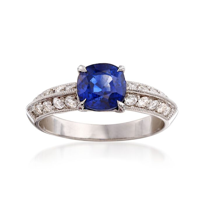 C. 2000 Vintage 1.65 Carat Sapphire and .45 ct. t.w. Diamond Ring in 18kt White Gold. Size 6.5, , default