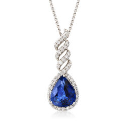 4.00 Carat Sapphire and .50 ct. t.w. Diamond Pendant Necklace in 14kt White Gold, , default
