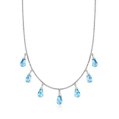 C. 1990 Vintage Blue Topaz Drop Necklace in 18kt White Gold, , default