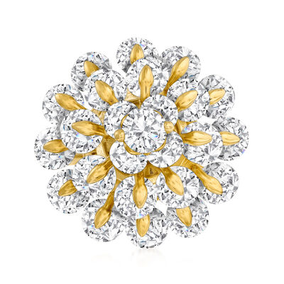 8.20 ct. t.w. CZ Flower Ring in 18kt Gold Over Sterling