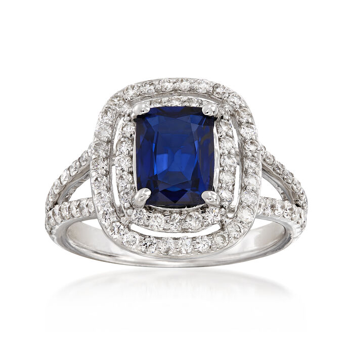 1.80 Carat Sapphire and .85 ct. t.w. Diamond Double Halo Ring in 14kt White Gold, , default