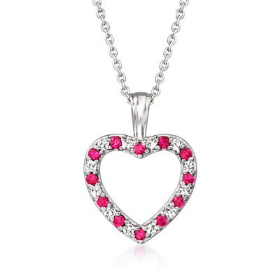 .20 ct. t.w. Ruby and .15 ct. t.w. Diamond Open-Space Heart Pendant Necklace in 14kt White Gold