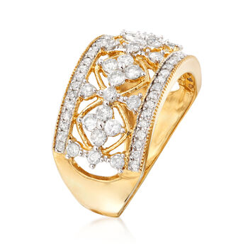 1.00 ct. t.w. Diamond Floral Ring in 14kt Yellow Gold