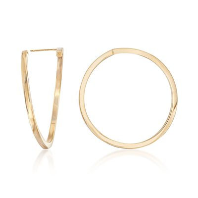 14kt Yellow Gold Free-Form Circle Hoop Earrings, , default