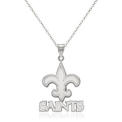"""Sterling Silver NFL New Orleans Saints Pendant Necklace. 18"""", , default"""