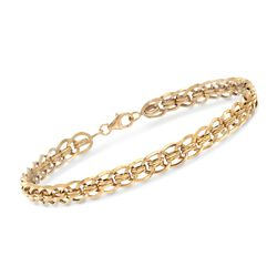 18kt Yellow Gold Double-Link Bar Bracelet, , default