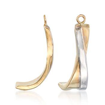 14kt Two-Tone Gold J-Hoop Earring Jackets