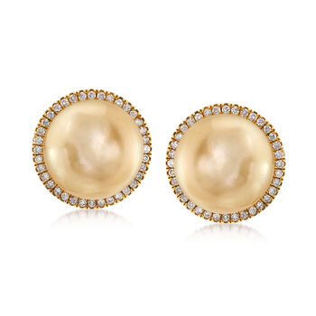 12mm Golden Cultured South Sea Pearl Earrings in 18kt Yellow Gold , , default