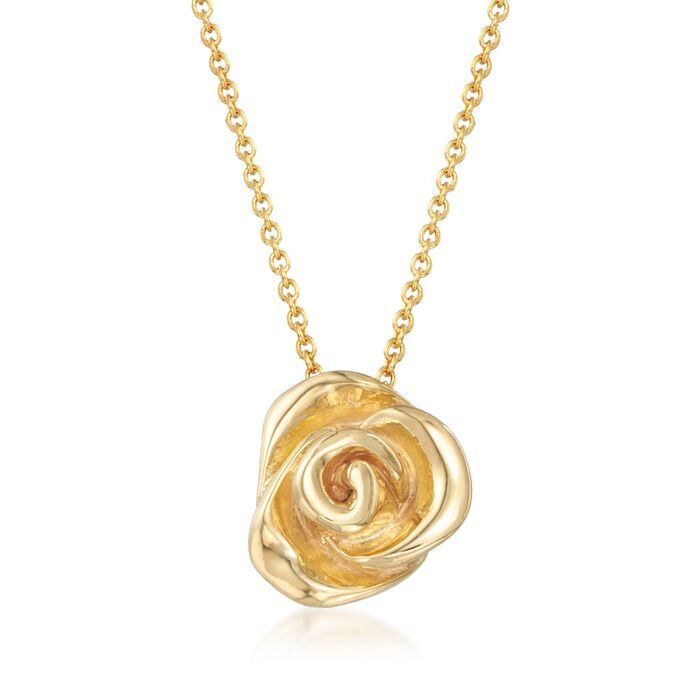 Italian 18kt Gold Over Sterling Silver Puffed Rose Necklace, , default