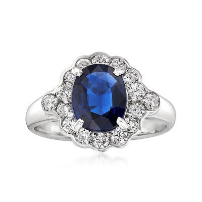 C. 2000 Vintage 3.75 ct. t.w. Diamond and 1.59 Carat Sapphire Ring in Platinum, , default