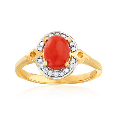 Orange Coral and .11 ct. t.w. Diamond Ring in 18kt Gold Over Sterling, , default