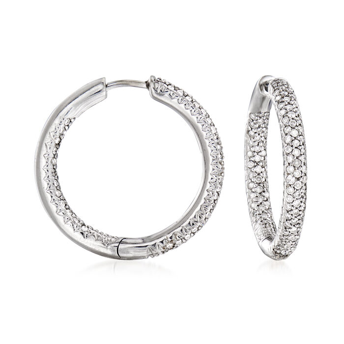 """C. 1990 Vintage 1.00 ct. t.w. Diamond Inside-Outside Hoop Earrings in 14kt White Gold. 7/8"""""""