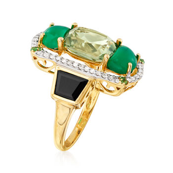 Black Onyx, Green Chalcedony and Multi-Gemstone Ring in 14kt Yellow Gold