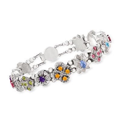 C. 1990 Vintage 4.00 ct. t.w. Multi-Gemstone Charm Bracelet with .25 ct. t.w. Diamonds in 10kt White Gold