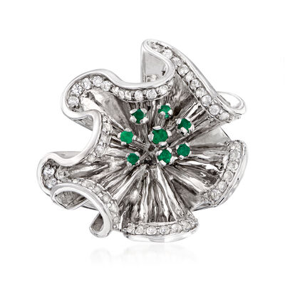 .58 ct. t.w. White Topaz and .20 ct. t.w. Emerald Floral Ring in Sterling Silver
