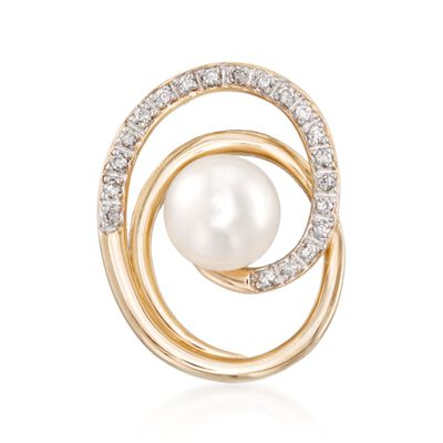 7-7.5mm Cultured Pearl and .13 ct. t.w. Diamond Swirl Pendant in 14kt Yellow Gold, , default