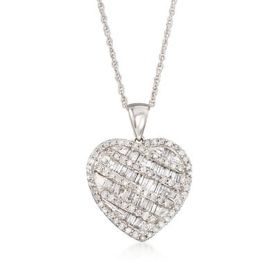 1.00 ct. t.w. Diamond Heart Pendant Necklace in 14kt White Gold, , default