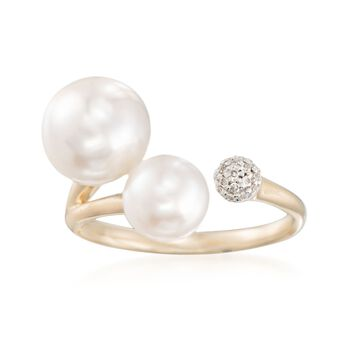 7-8mm Cultured Pearl Cuff Ring With Diamond Accents in 14kt Yellow Gold, , default