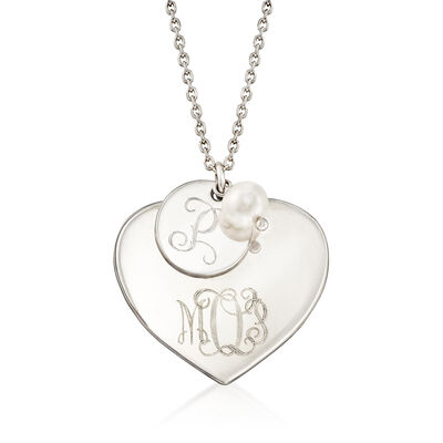 Italian Sterling Silver Personalized Heart Charm Necklace with 6-6.5mm Cultured Pearl, , default