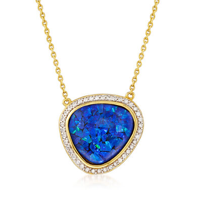 Blue Synthetic Opal and Zircon Necklace in 18kt Yellow Gold Over Sterling Silver, , default