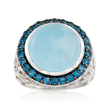 Blue Chalcedony and 1.10 ct. t.w. Blue Topaz Ring in Sterling Silver, , default