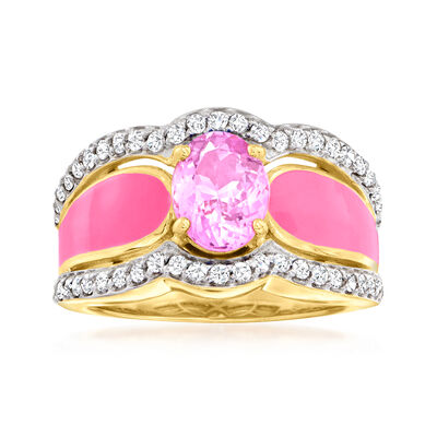 1.60 Carat Kunzite and .60 ct. t.w. White Zircon Ring with Pink Enamel in 18kt Gold Over Sterling