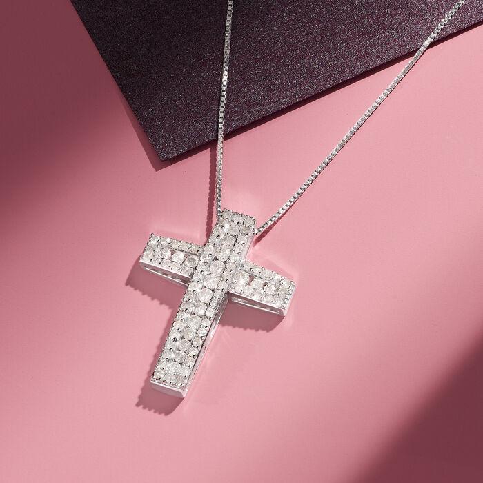 1.00 ct. t.w. Diamond Cross Pendant Necklace in Sterling Silver