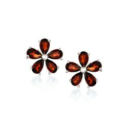 2.30 ct. t.w. Garnet Flower Earrings in Sterling Silver, , default