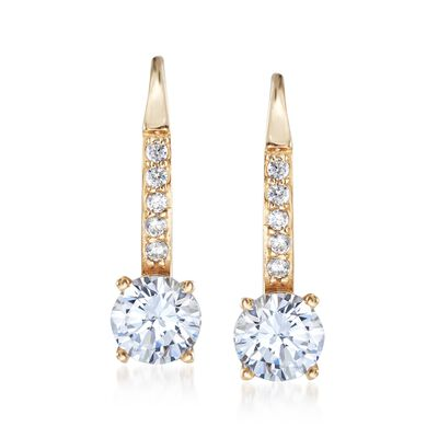 1.10 ct. t.w. CZ Drop Hoop Earrings in 14kt Yellow Gold, , default