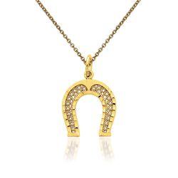 """14kt Yellow Gold Horshoe Pendant Necklace. 18"""", , default"""