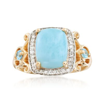 Larimar and .17 ct. t.w. Diamond Ring with .10 ct. t.w. Blue Topaz in 14kt Yellow Gold, , default